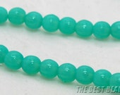 30pcs Aquamarine Round Czech Glass Pressed Beads 6mm