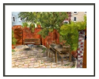 Capitol Hill Patio, wall art, artwork, art print, painting, Art & collectibles, DC, townhouse, red brick, garden, private garden, summer