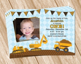 Construction Birthday Invitation - DIY Printable Digital Design