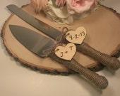 personalized rustic wedding cake cutter and knife customized burlap wedding cake knife(K103)