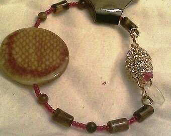 Tiger Eye and Snake Skin Ceramic Bracelet