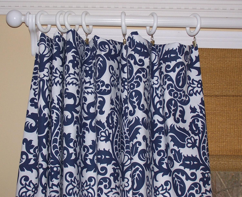Curtains Ideas damask curtain : BLUE CURTAINS NAVY Curtains Blue Damask by Cathyscustompillows