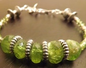 Peridot Gemstone and Silver Bracelet