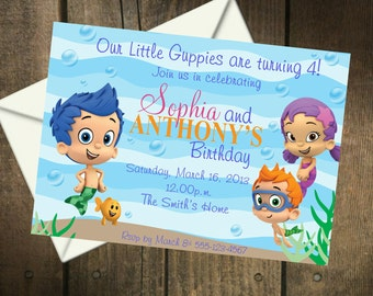 Bubble Guppies TWINS  Birthday Party Printable Insert