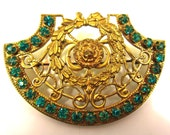 Vintage Ornate Gold Tone And Teal Blue/Green Crystal Brooch/Pin-Free Gift With Purchase - SJWVintage
