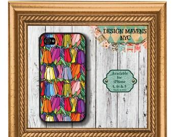 Colorful Tulips iPhone Case, Floral iPhone Case, Flowers iPhone Case, iPhone 4, 4s, iPhone 5, 5s, iPhone 5c, iPhone 6, 6s, 6 Plus, SE