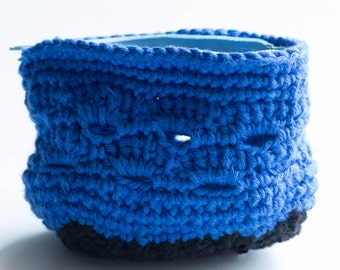 black & electric blue coin purse handmade