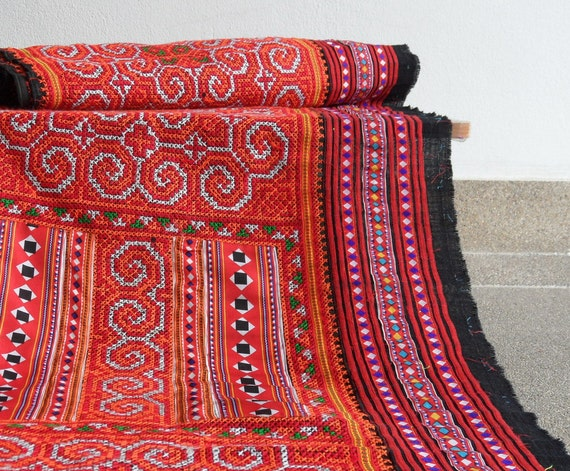 Reclaimed Fabric Hmong Fabric Tribal Design Hand Embroidery