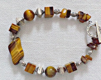 Tiger Eye Bracelet with Stearling Silver Beads and Clasp