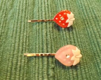 Set of 2, pink & red strawberry bobby pins