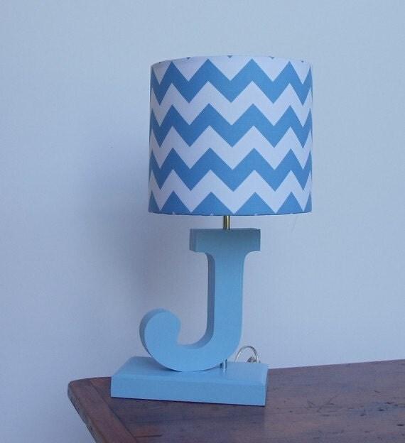 Handmade Small Blue/White Chevron Lamp Shade Nursery