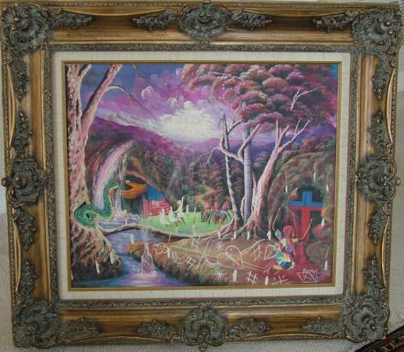 Listed Haitian Haiti Henry E. Pierre People PARANORMAL OIL Painting Spiritual Voodoo