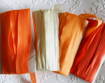 Silk Rayon Seambinding Orange tones 12 yards plus