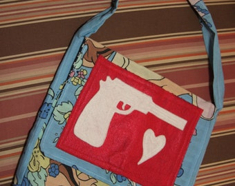 Vintage handmade messenger tote with felt gun applique and scenes from Bambi