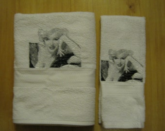 Marilyn Monroe Bath & hand towel set with photo stitch