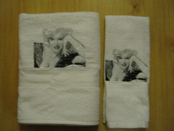 monroe bath & hand towel set with photo stitch