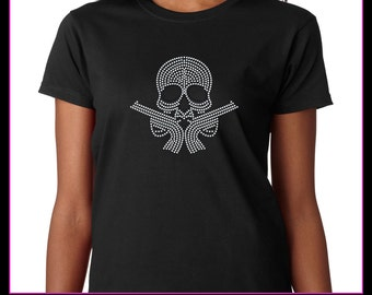 Skull with Guns Rhinestone T-Shirt Bling