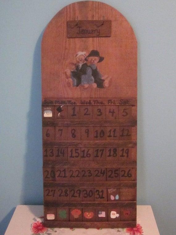 Perpetual Calendar Vintage : Vintage wooden handpainted perpetual calendar