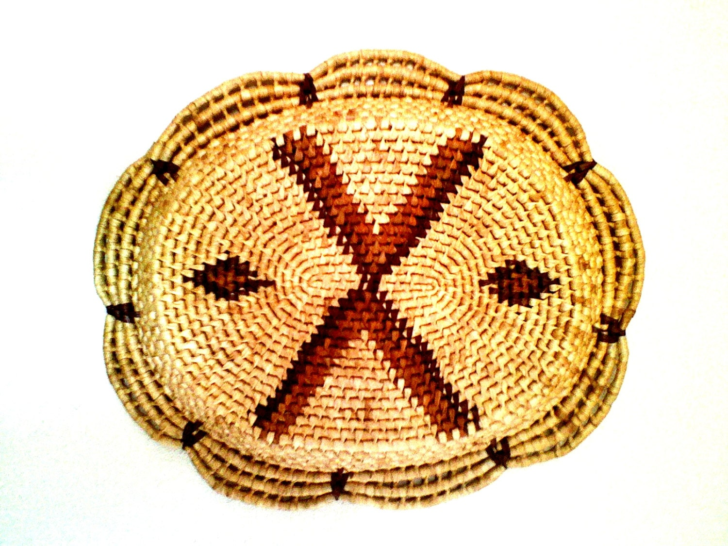 Basket Weaving With Raffia : Native american hand woven raffia basket with open by