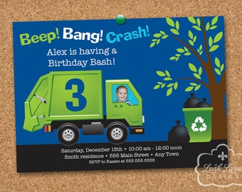Garbage Truck Birthday Invitation with PHOTO / Garbage Truck Invitation / Recycle Truck Invitation / Personalized Printable Invitation