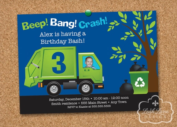 Garbage truck birthday invitation with photo garbage truck like this item filmwisefo Image collections