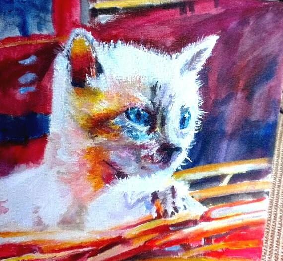 Cat fine art print cat art abstract animal art kitten cute for Cute abstract art