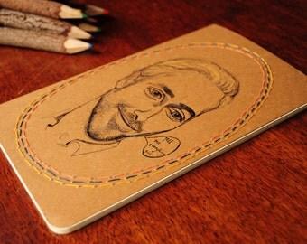 "Original Hand Drawn & embroidered ""Ryan Gosling"" Moleskine 13 x 21 cm"