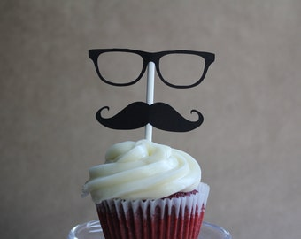 Mustache and Glasses Cupcake Toppers