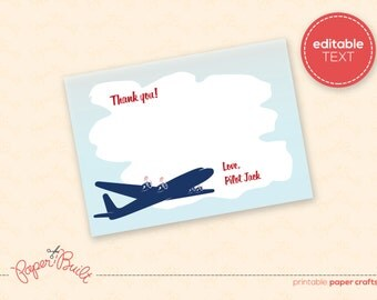 """INSTANT DOWNLOAD - Printable Airplane Birthday Party """"Thank You"""" Note Card from the All-American Airplane Party Collection by Paper Built"""
