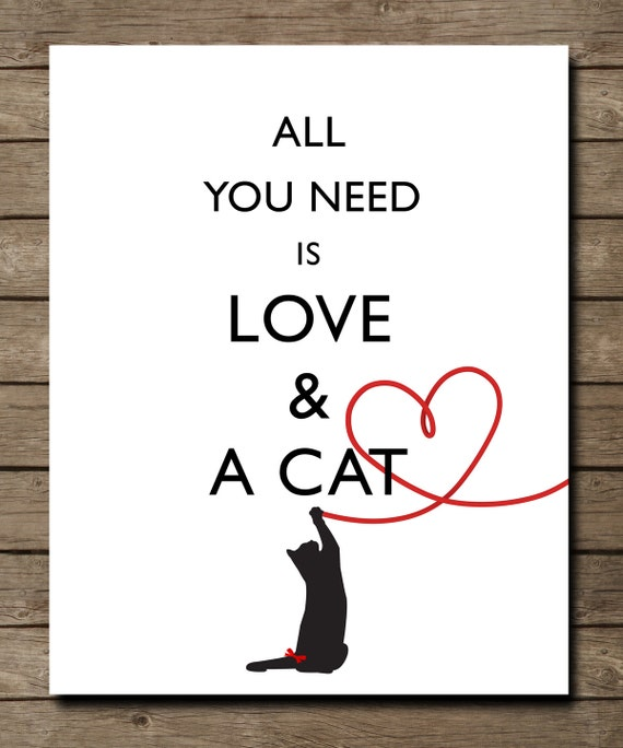 "Subway Art ""All you need is LOVE and a CAT"" Family Gift Print - Fun ..."