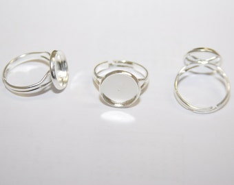 5 Pcs. bezel ring settings / blanks with tray / 14mm, fits 12mm cabochons/ silver tone R037