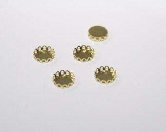 10 Pcs. bezels / round settings / pendant trays / gold tone 10mm FAS007