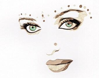 "Original Hand-Cut Paper Portrait - ""Aishwarya Rai"""