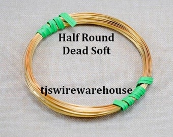 16 ga Nu Gold Wire, Red Brass Wire, HALF ROUND, Dead Soft, 25 Ft.
