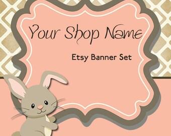 Etsy Banner and Icon Set - Etsy Shop Banner - Premade Etsy Banner - Etsy Shop Banner And Avatar Set--Bunny Etsy Banner--Rabbit Etsy Set--134