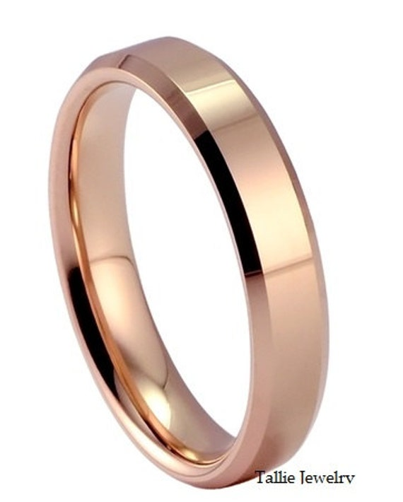 mens or womens 14k rose gold wedding band ring 4mm wide sizes 4 12