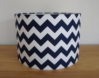 Drum lampshade 30 cm handmade in Riley Blake's HORIZONTAL chevron navy & white fabric