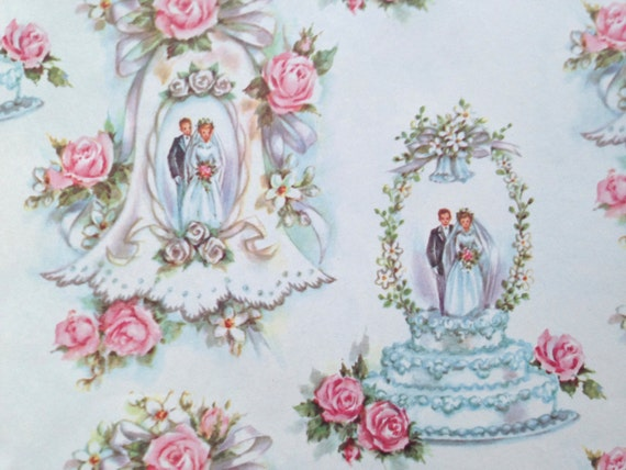 Wedding Gift Wrapping: Vintage Gift Wrapping Paper Bridal Shower Wedding Cake