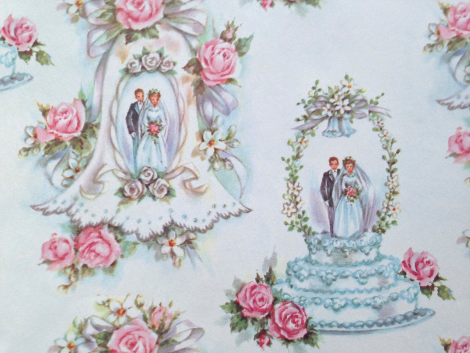 Retro Wedding Gifts: Vintage Gift Wrapping Paper Bridal Shower Wedding Cake
