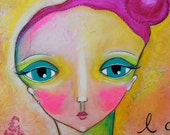 """Original Mixed Media Whimsical Painting on Large 16 x 20 Gallery Wrapped Canvas: """"Just Be You."""""""