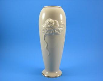 Vintage Lenox Rose Blossom Vase 24Kt. Gold Gilt Trim