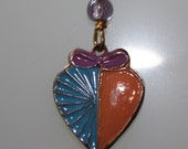 1980s Small Vintage Designer Blue & Peach Enameled Heart with a Lilac bow Pendant on 925 SS Chain