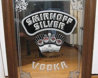Large Smirnoff Silver Vintage Bar Mirror