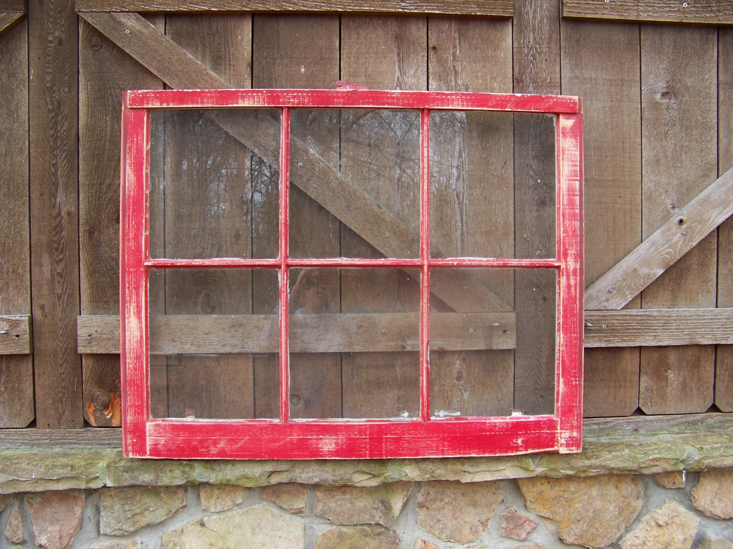 Old Red Window Frame 32x28