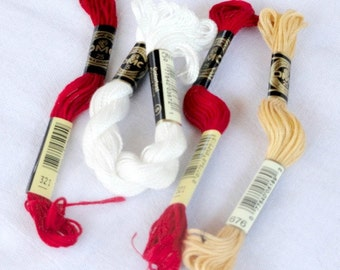 Floss for Cross Stitch, Lot of 4, Thread, Embroidery, Yarn, String Supply