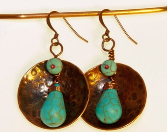Copper and Howlite Earrings