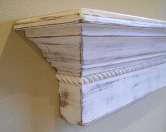 "48"" Floating Wall Shelf, Shabby Chic Wall Shelf, Distressed Wall Shelf, Shabby Chic Wall Ledge, Distressed Floating Wall Shelf"