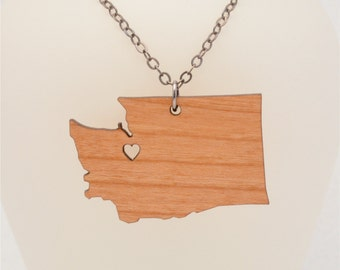 FREE SHIPPING Washington Necklace, Laser Cut Going Away Gift, FREE Gift Wrap, Mother's Day Gift