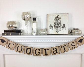 Congrats Banner, Graduation Decorations, Grad Banner, Graduation Banner, Graduation Party, Graduation Cap, 2018