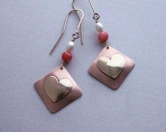 Heart dangle earrings handmade ,  heart earrings , copper  earrings , copper jewelry, sweetheart jewelry